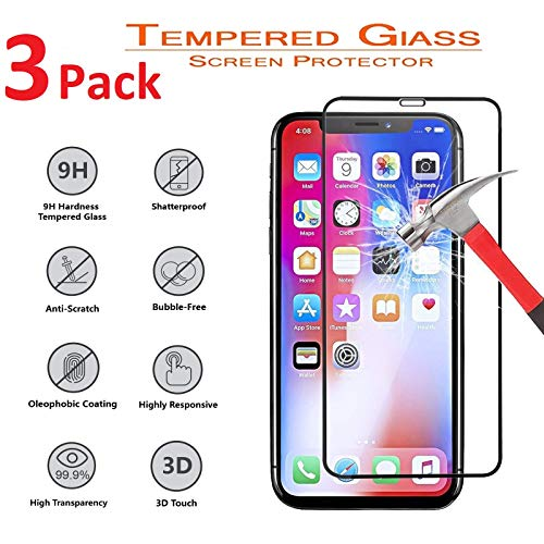 iPhone Xs Max Glass Screen Protector, eTECH [3 Pack] Full Coverage Tempered Glass Screen Protector for Apple iPhone Xs Max 6.5