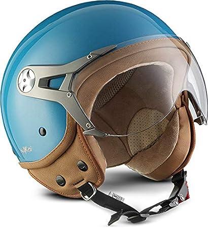 Soxon Sp 325 Mono Scooter Helmet Pilot Biker Cruiser Vintage Chopper Retro Jet Helmet Bobber Vespa Helmet Scooter Helmet Moped Motorcycle Helmet Ece Certified Including Sun Visor And Fabric Carrying Case Xs 53 54cm Amazon De