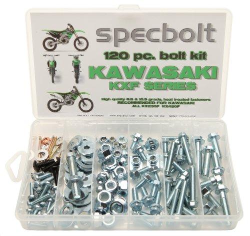 120pc Specbolt Kawasaki KXF 250 450 four stroke Bolt Kit for Maintenance & Restoration of MX Dirtbike OEM Spec Fastener KX250F KX450F KXF250 KXF450 ()