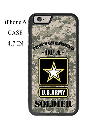 Customized Cool Black Soft Proud Girlfriend of a U.S. Army Soldier Quotes with Camouflage Pattern iPhone 6 - 4.7 Inch Plastic and TPU Durable Phone Case Cover(Laser Technology)