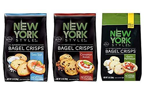 New York Style Bagel Crisps Pack of 3 (Sea Salt + Cinnamon Raisin + Garlic Parmesan)