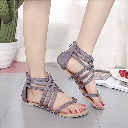 Sandalias Verano Romanas Minetom Toe Mujer Sandals Clip Planos Gladiadoras Punta Primavera Retro Moda Shoes Gris Abierta Casual Playa De 0w5wA