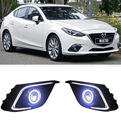 AupTech CCFL Angel Eye luz antiniebla LED DRL antiniebla Exact-fit diseño con 55 W H11 halógena bombillas Amarillo Color para Mazda 3 2014 - 2017: ...