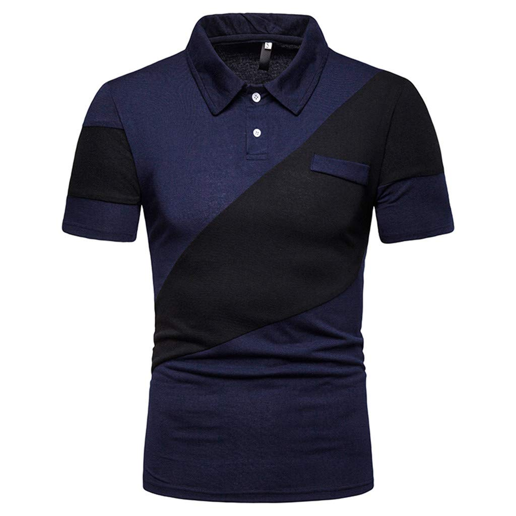 Big Sales Anewoneson//Mens Two-Color Stitching Fashionable Casual High-Grade Lapel Shirt with Short