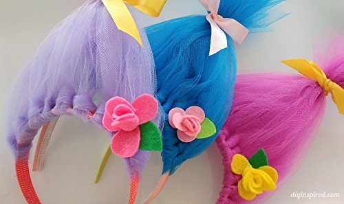 25-Yard each Solid Colors Tulle Rolls Spool Three Spools of Tulle Fabric on 3 Beautiful Colors Turquoise Pink and Purple