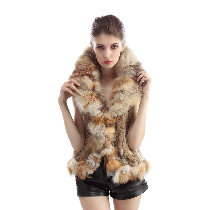 Vemolla Gabán tejido de la piel auténtica de conejo con adorno de la piel de zorra: Amazon.es: Ropa y accesorios