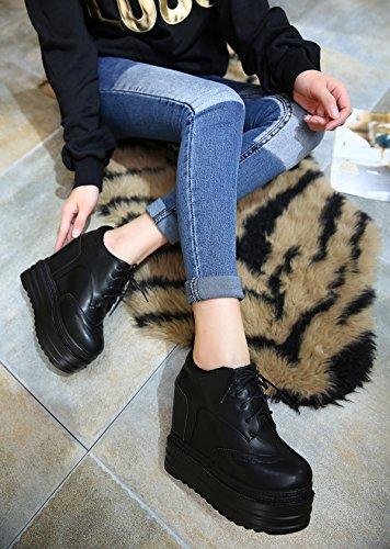 GTVERNH-Primavera Y Otoño Negro 8.5Cm Zapatos Pendiente Con Fondo Grueso Mayor De Zapatos Zapatos Impermeables Mujeres Super Lace Botas De Tacón Alto Treinta Y Cuatro Thirty-seven