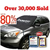 #7: SnowOFF Car Windshield Snow Ice Cover - Sun Shade Protector - WINDPROOF Straps, Wings, Suction Cups, Magnets - BONUS Demist Cloth + Blanket - Winter Ice Rain Frost Automotive Hood Covers - Fits Cars