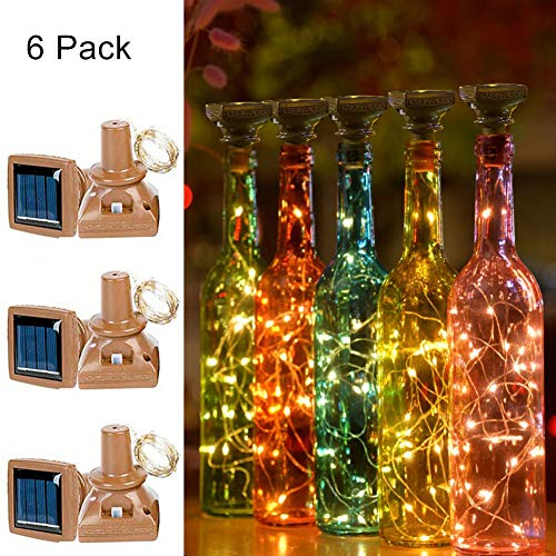 ATPOWER Solar Wine Bottle Lights, 6 Pack 20 LED Waterproof Warm White Copper Cork Shaped Lights for Wedding Christmas, Outdoor, Holiday, Garden, Patio Pathway Decor (White Warm)