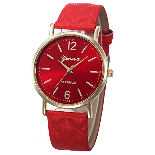 Watch, Womens Watch, Fashion Geneva Roman Analog Alloy Quartz Wrist Watch Retro Exquisite Luxury Classic Bracelet Casual Business Watches for Ladies Teen Girls (Red)