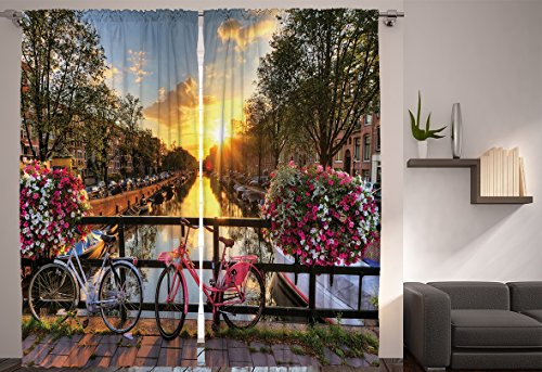 Girls Curtains Mediterranean Decor By Ambesonne Bridge And The Bike European City Park Spring Art Prints Modern Home Interior For Bedroom Living Dining