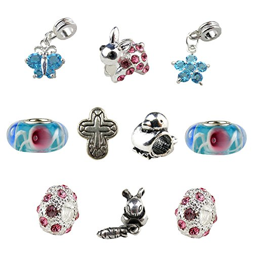 Set of 10 Pink & Turquoise Easter Charms & Beads, Bunny Charm, Cross Charm, Butterfly Charm