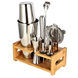 Cocktail Shaker Set Expert Bartender Kit - 20 & 27 oz Stainless Steel Bar Tools Kit with Stand All In One for Drink Mixing Set (10-piece set)