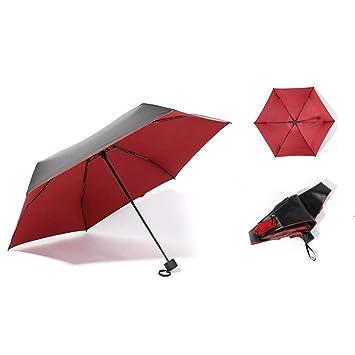 fancyU Paraguas Ligero Fresco 5 Pliegues 6 Huesos Plegable Plástico ...