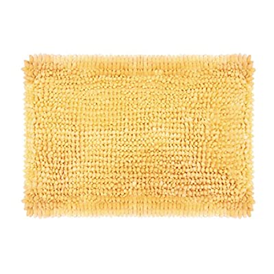 """Laura Ashley Butter Chenille 17"""" x 24"""" Bath Mat, Yellow - Includes (1) 17"""" x 24""""  Laura Ashley bath rug Luxurious silky, velvety chenille is exceptionally soft when stepping out of the shower or bath Skid-resistant backing helps keep mat firmly in place - bathroom-linens, bathroom, bath-mats - 513k2JjHvQL. SS400  -"""