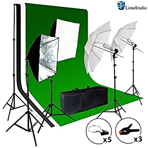 LimoStudio Photo Video Studio Light Kit - Includes Chromakey Studio Background Screen (Green Black White), (3) Muslin BackDrops, Umbrella, Softbox, Lighting Diffuser Reflector, AGG1388