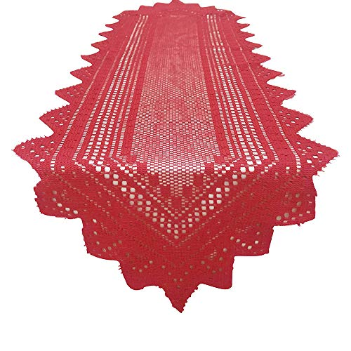 Hot Sale!DEESEE(TM)Christmas Polyester Crochet Lace Table Runner Dinner Parties Restaurant Decor (Red) -