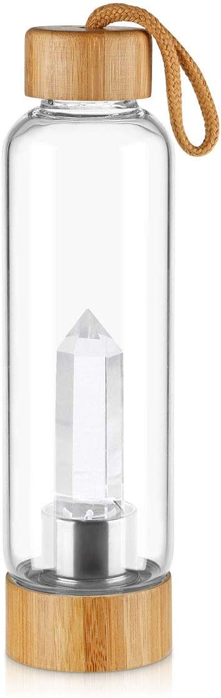 Gaone Botella de Cristal de Cuarzo Natural de Agua con Centro de Piedras Preciosas Decorado con Varita de Cristal de Cuarzo Natural Haciendo de Cristal infundido Gema Agua