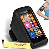 Nokia Lumia 635 Black Adjustable Armband Sport Gym Bike Cycle Running Jogging Sports Case Cover Holder Pouch SVL31 BY SHUKAN®, (BLACK)