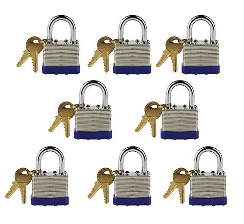 (Laminated Steel Keyed-Alike Padlocks, 1 7/8'' Shackle, ¼'' Diameter (A802) 40mm Body, Multiple Padlocks (Pack of 10))