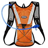 KUYOU Hydration Pack Water Rucksack Backpack Bladder Bag Cycling Bicycle Bike/Hiking Climbing Pouch + 2L Hydration Bladder,(Orange+Water Pouch)