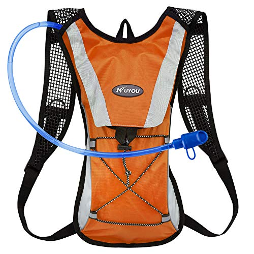 KUYOU Hydration Pack Water Rucksack Backpack Bladder Bag Cycling Bicycle Bike/Hiking Climbing Pouch + 2L Hydration Bladder,(Orange+Water Pouch) -