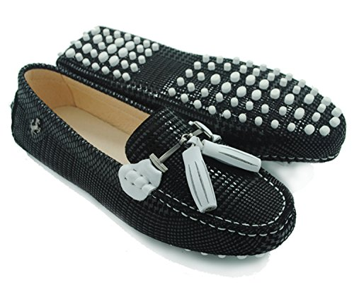 Minishion Womens Casual Tassel Suede Leather Driving Penny Loafers Moccasins Slip-On Casual Flats White Tassel-black
