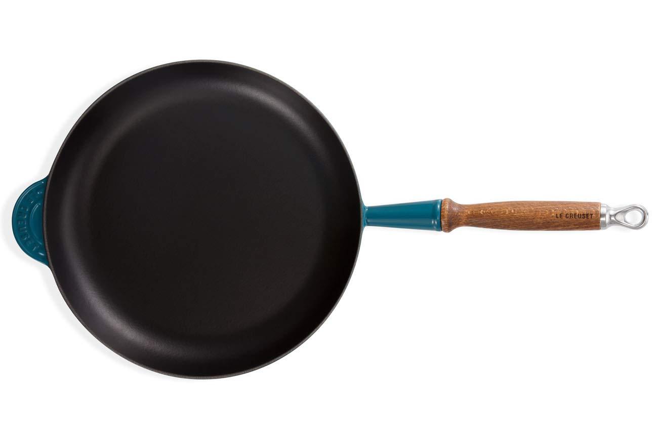Le Creuset- Sartén Alta de Hierro Colado Esmaltado con mango de Madera, 28 cm, color Volcánico