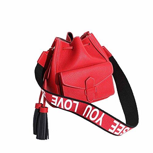 Sac À De Bandoulière Noir Fonction Multi Petit Messenger Casual Fourre red Élégant Tassels Sacs à Dames Voyage Tout Femmes Pu Sacs Main Travail w1AXRI1