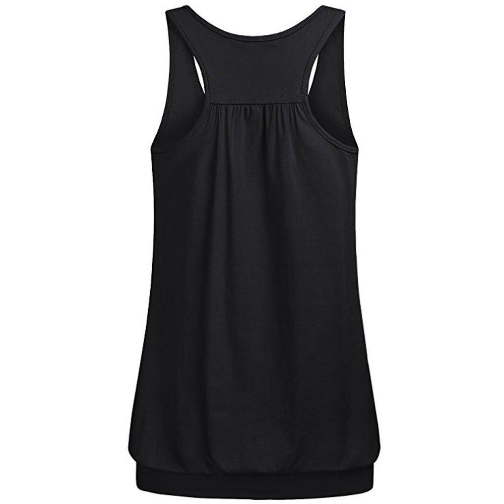 Women Tank Tops Basic Solid Color Vest Round Neck Blouse Shirt Racerback Shirt (XL, Black)