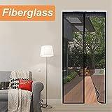 Reliancer Fiberglass Magnetic Screen Door 36 x96 Large Magnet Patio Door Mesh Curtain for Door Opening Up To 34 x95 W/Full Frame Velcro Outdoor Patio(Fiberglass, 3696)