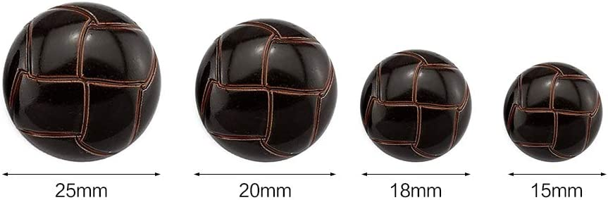 Anjing 10 Pcs Plastic Round Buttons Imitation Leather Pattern for Suit Dress Coat Embellish Coffee 15mm