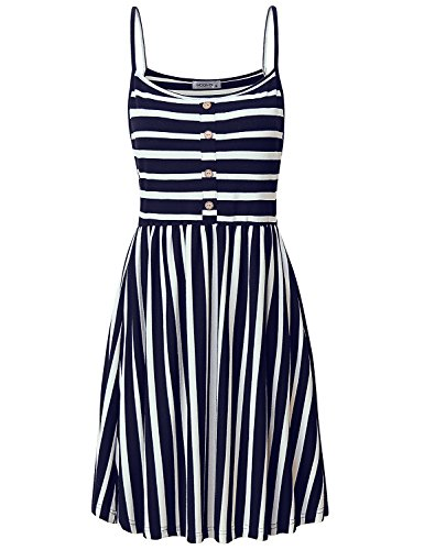 Smock Top Dress - MOQIVGI Spaghetti Strap Dress,Womens Trendy Slim A-line Pleated Drapey Career Smock Day Dresses Striped Fit and Flare High Waist Semi Formal Above Knee Dress Office Wear Blue White Large