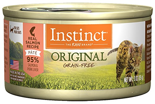 Instinct Original Grain Free Real Salmon Recipe Natural Wet Canned Cat Food by Nature's Variety, 3 oz. Cans (Case of (Control Formula Canned Food)