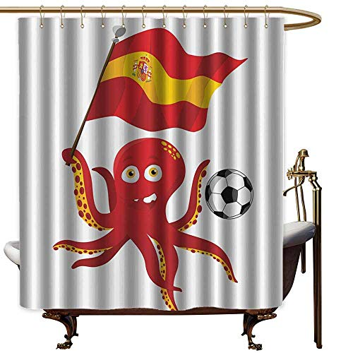 - Shower Curtain with Hooks,Funny Octopus Soccer Player Spain Flag European Football Barcelona Madrid Valencia Sports Lover Clip Accent for Male,Fashionable Pattern,W72x72L,Red Yellow White