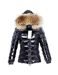 Nelliewins Winter Jacket Women Real Fur Coat Parkas Duck Down Lining Coat Real Raccoon Fur Collar Warm Black Streetwear