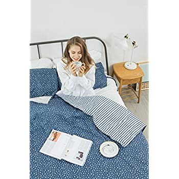 Image of Simple Being Weighted Blanket Duvet Cover with Matching Pillow case for Heavy Blanket, 400 Thread Count Ultra Premium Cotton, 8 Ties, Zip Duvet Cover Only (Blue Triangle, King) Simple Being B07SHWGHKV Weighted Blankets