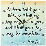 3dRose dpp_150070_1 Bible Verse John 15-11 Gradient Cross Bible Christian Inspirational Saying Wall Clock, 10 by 10-Inch