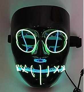 SOUTHSKY V Vendetta Mascara con la Moda Brillante, luz Azul para el Partido, Máscara