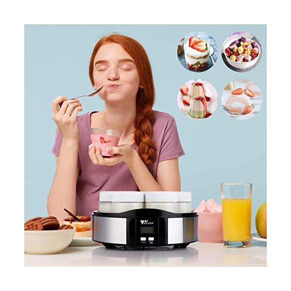 Amzdeal Yogurtiera- Yogurtiera Elettrica con Display LCD e 7 Barattoli di Vetro da 200 ml, Timer di Spegnimento… 7
