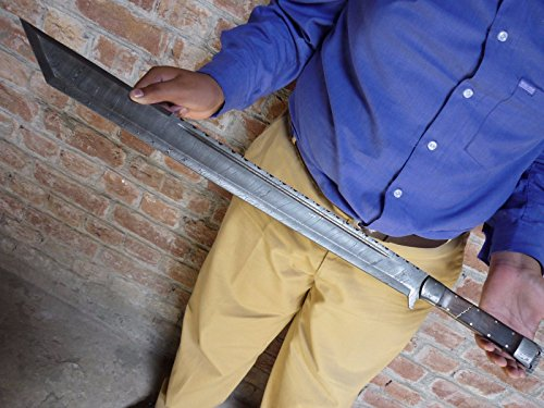 CUSTOM HAND FORGED DAMASCUS STEEL MACHETE SWORD/TANTO/GLADIOUS HUNTING ()