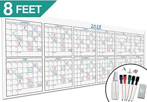 large dry erase wall calendar 36 x 96 blank 2018 2019 reusable