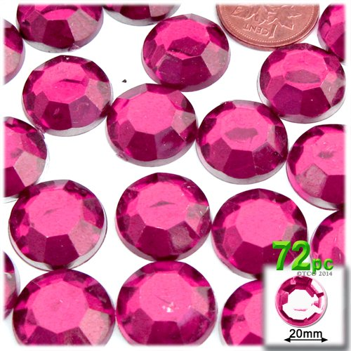 The Crafts Outlet 72-Piece Flatback Round Rhinestones, 20mm, Hot Pink