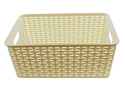 YBM Home Plastic Rattan Storage Box Basket Organizer ba425 (White, Medium)