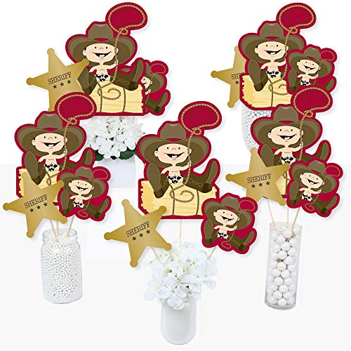 Little Cowboy - Western Baby Shower or Birthday Party Centerpiece Sticks - Table Toppers - Set of -