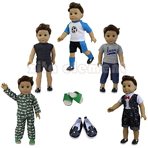 [ZITA ELEMENT Boy Doll Clothes- Lot 7=5 Daily Costumes Casual Clothes+ 2 Shoes fit for 18 inch American Girl & Boy Dolls Logan Doll Outfits] (Cute Costumes To Make Yourself)