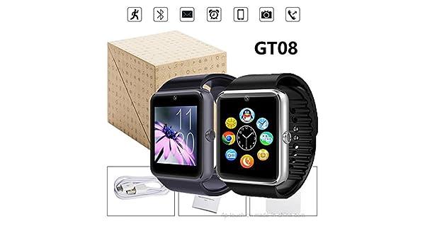 SmarWatch Reloj Inteligente GT08 Plus Modelo 2018 Bluetooth Andorid/IOS Admite Sim y Micro SD hasta 32GB Cámara frontal Entrega Península 24Hs: Amazon.es: ...