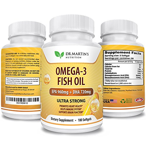 Heavy Crude Oil (Omega-3 Fish Oil – Dietary Supplements – 180 Softgels | EPA 960mg + DHA 720mg | 100% Organic and Natural | New formula | Promotes Health Hearth, Helps Immune System and Brain Function | Dr. Martin's)