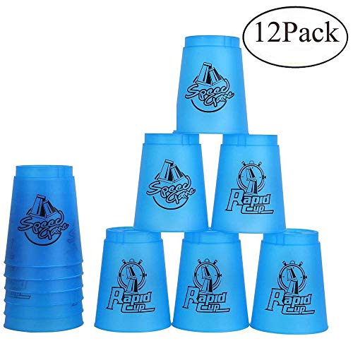 Quick Stacks Cups, Sports Stacking Cups Speed Training Set of 12 with Carry Bag