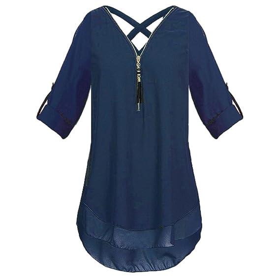 Mujer Atractivas del Color Solido Gasa Blusas para Dama Camisas de Camisetas Largas Top Cuello EN V Cremallera Tops Camisa Tallas Grandes Manga Larga con ...